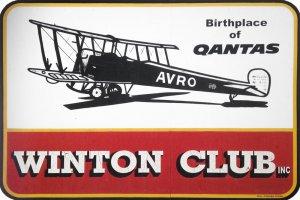 The Winton Club Sign featuring orignal Qantas Arvo plane