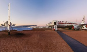 Qantas Founders Museum Jets at dusk